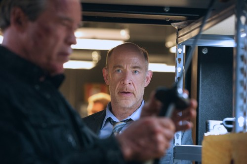 Left to right: Arnold Schwarzenegger plays the Terminator and J.K. Simmons plays Detective O'Brien in Terminator Genisys from Paramount Pictures and Skydance Productions.