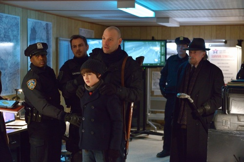 """THE STRAIN -- """"The Battle For Red Hook"""" -- Episode 209 (Airs September 6, 10:00 pm e/p) Pictured: Max Charles as Zack Goodweather (bottom center), Corey Stoll as Ephraim Goodweather (center), David Bradley as Abraham Setrakian (far right). CR: Michael Gibson/FX"""