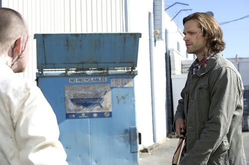 "Supernatural -- ""Form and Void""  -- Image SN1103A_0107.jpg -- Pictured (L-R): Trevor Roberts as George and Jared Padalecki as Sam - Photo: Carole Segal/The CW -- © 2015 The CW Network, LLC. All Rights Reserved."