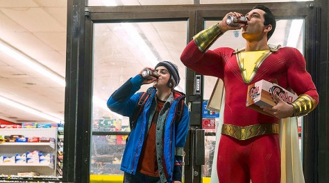 SHAZAM! (L-r) JACK DYLAN GRAZER as Freddy Freeman and ZACHARY LEVI as Shazam